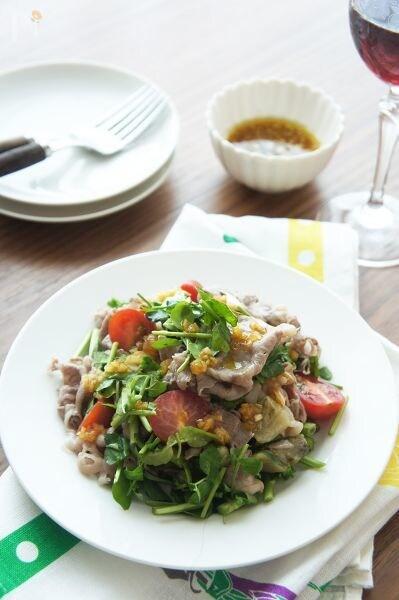 クレソン風味がいい♩なすと牛肉のサラダ
