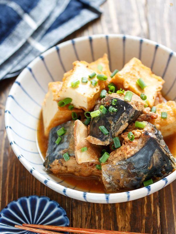 サバ缶と厚揚げの味噌煮【#作り置き #時短 #煮込みは3分】