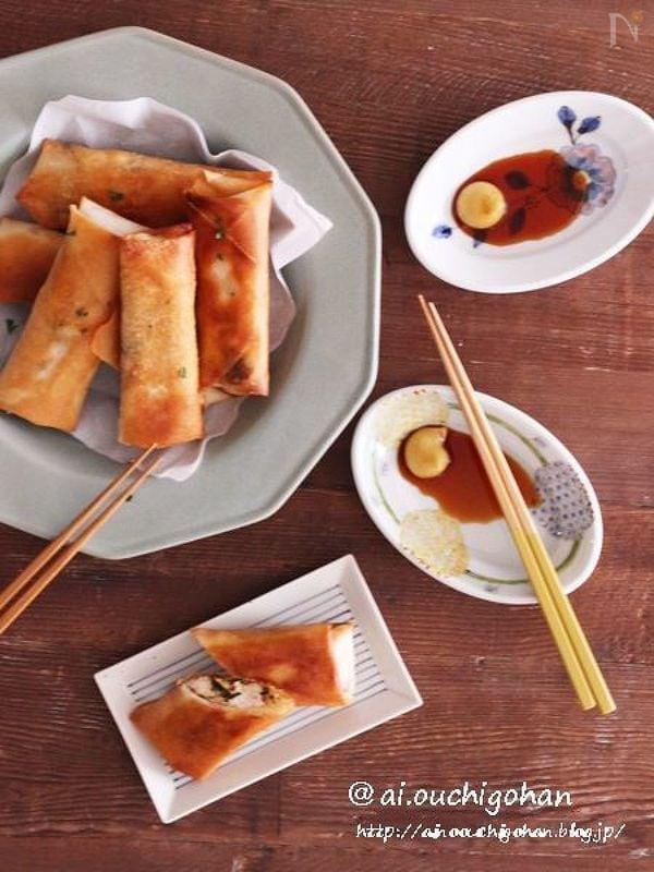 包丁不要♡鶏ひき肉と豆苗の簡単春巻き♡