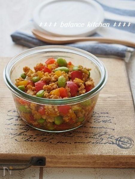 【常備菜】万能!カラフル野菜のカレートマトそぼろ