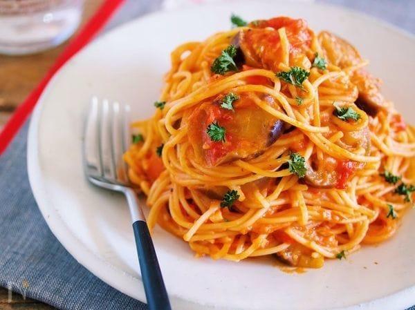 なすとツナのトマトチーズパスタ【#麺の別茹で不要】