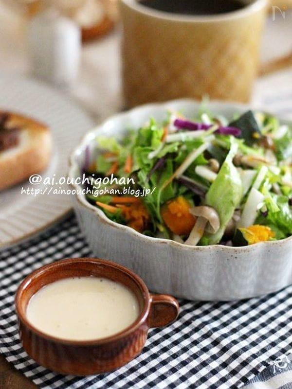 野菜がもっと食べたくなる*きのことかぼちゃが決め手のサラダ♡