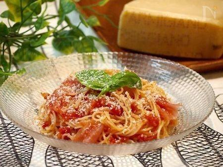 パルミジャーノと生ハムの冷製トマトパスタ