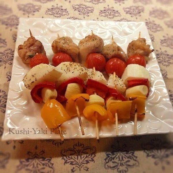 残り野菜で串焼きプレート