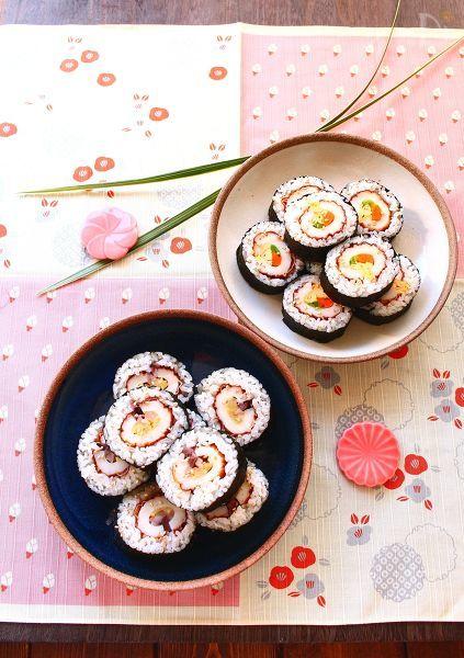丸ごとちくわの太巻き寿司(ちくわのお新香巻き、3色巻き)