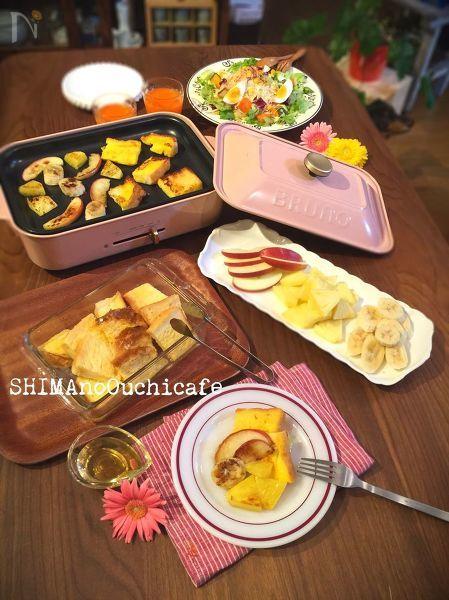フレンチトーストと焼きフルーツでホットプレート朝ごはん♪