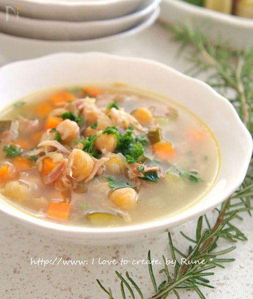 手羽先とビーンズの具沢山スープ