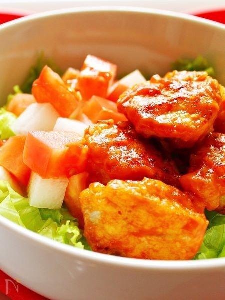 鶏肉のから揚げ オーロラソース丼☆