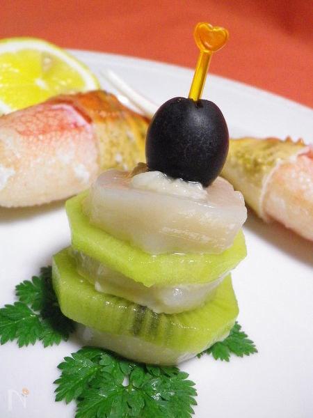 ◆ホタテとキウイフルーツのミルフィーユ◆with塩麹