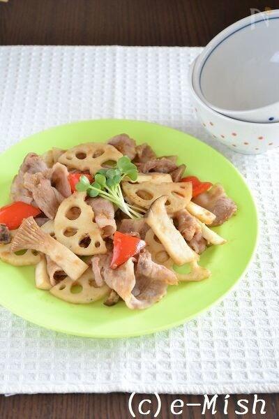 豚肉とれんこんのたっぷり生姜炒め