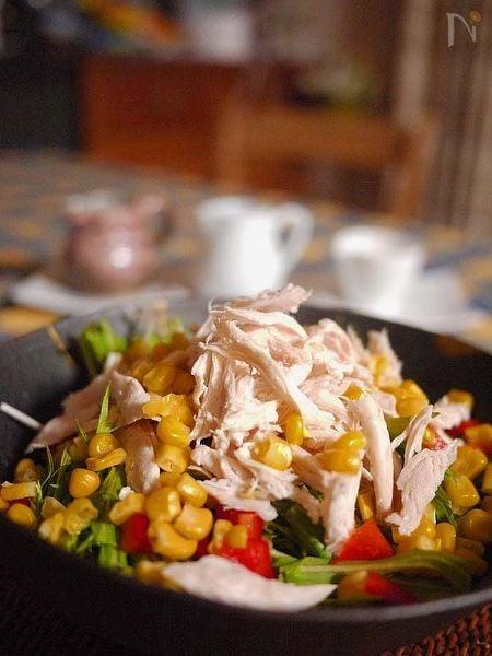 ささみと水菜のサラダ3種のドレッシング