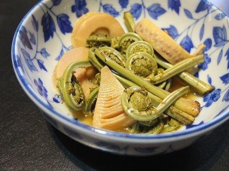 竹の子とこごみの煮浸し