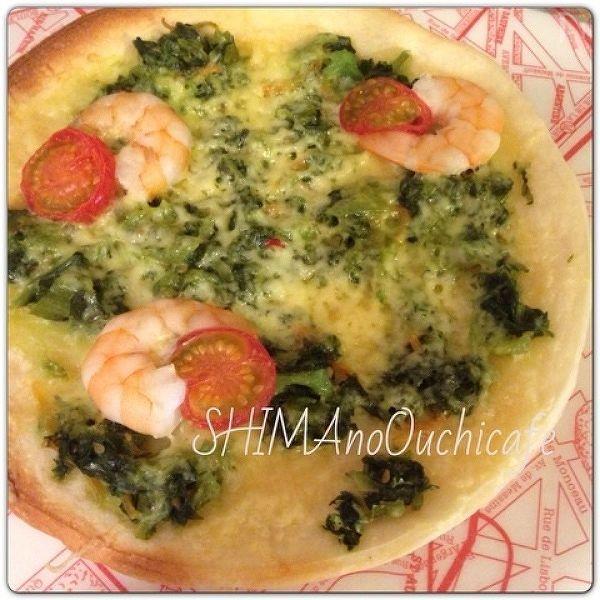 おもてなしおうちカフェに簡単!漬物&エビのピザ