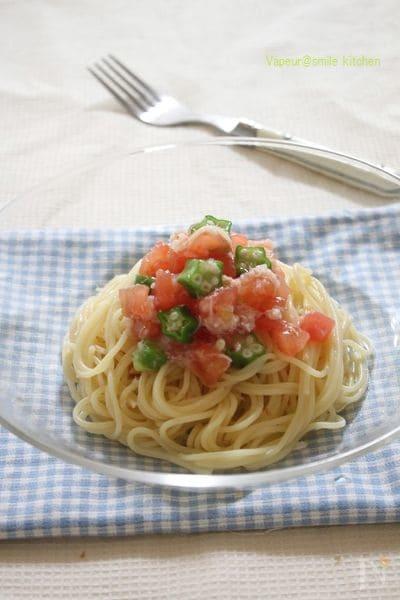 カニとトマトの冷製和えるだけパスタ