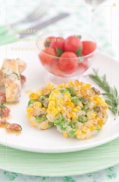 枝豆ととうもろこしの大麦ガレット