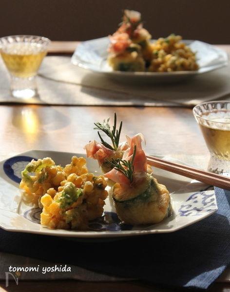 夏野菜のフリット「ズッキーニと生ハム」