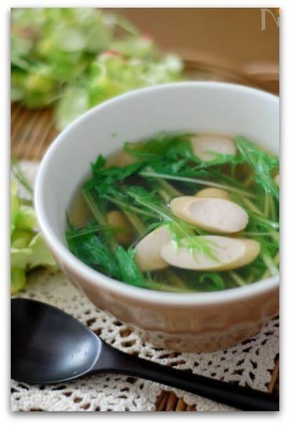 水菜とウインナーのコンソメスープ