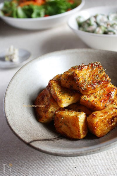 豆腐ステーキ 粒マスタード照焼きで♪