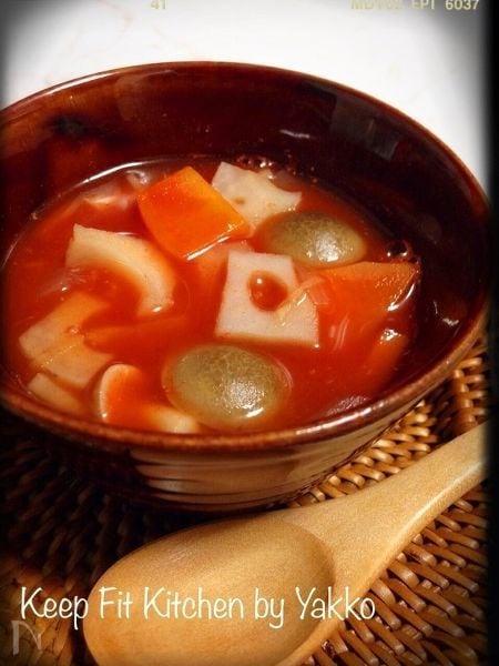 からだの芯からぽっかぽか♪根菜のトマトジンジャースープ