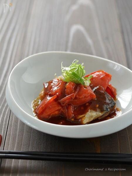 塩サバのトマト黒酢あんかけ