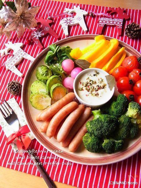 カラフル野菜とソーセージの香り蒸し ~ カマンベールディップ