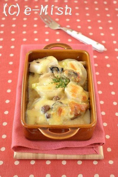 牡蠣と根菜の豆乳グラタン