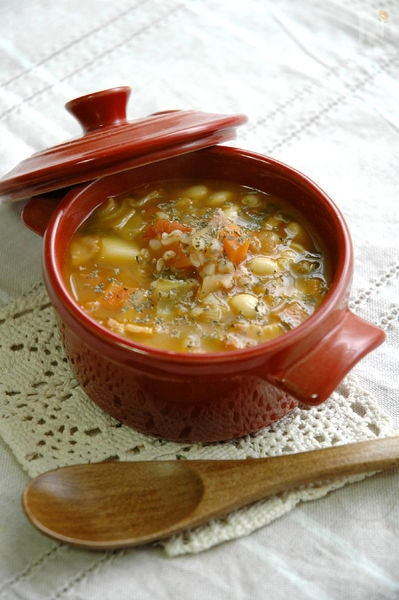 ソバ米と大豆のミネストローネ