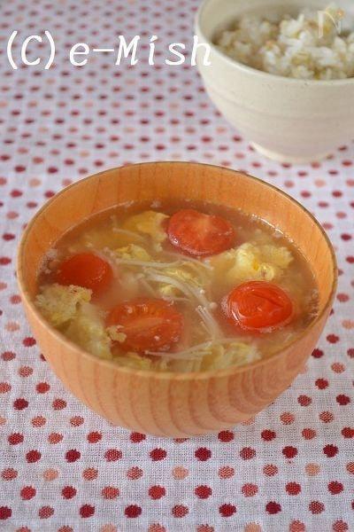 トマトとえのきのかき玉味噌汁