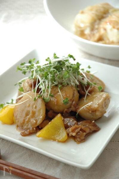 里芋と豚肉のうま照り炒め。