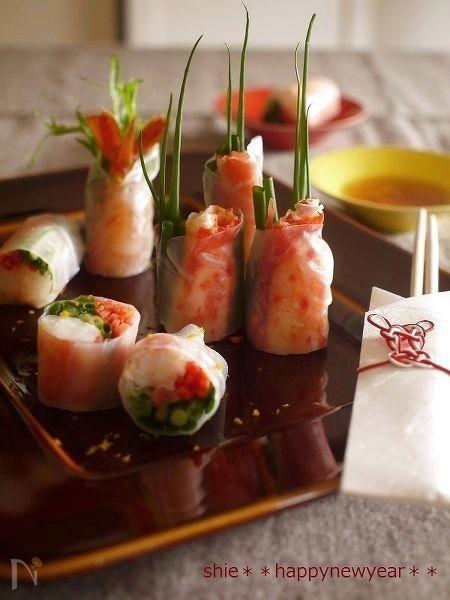 お祝い海鮮生春巻☆スイート柚子ソースで~