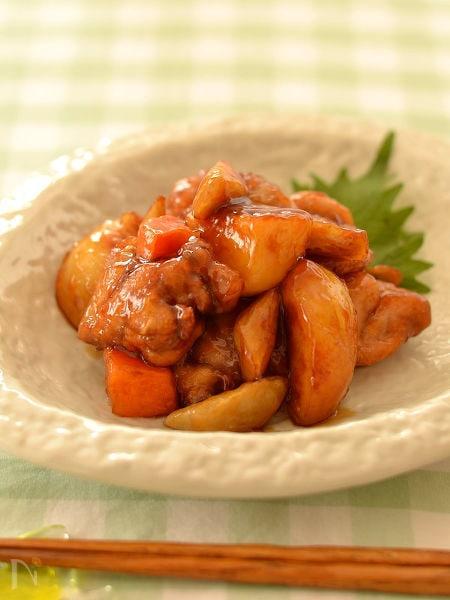 根菜と鶏肉の黒酢あんかけ