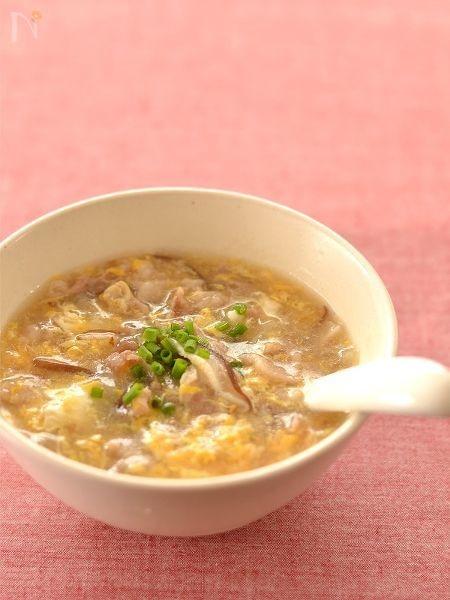 豚肉としいたけの卵スープ