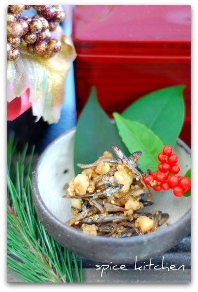 塩麹de作る胡桃とアーモンド入り田作り