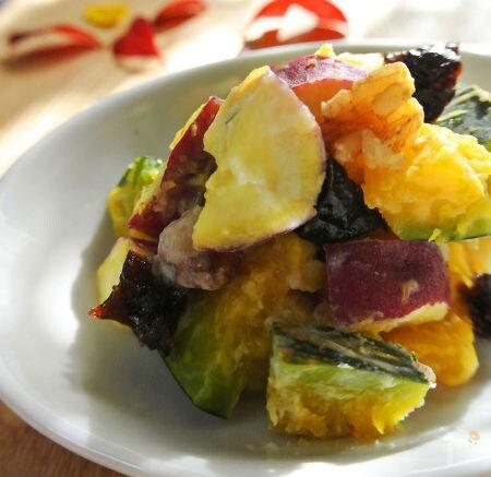 さつまいもとかぼちゃのヨーグルトサラダ