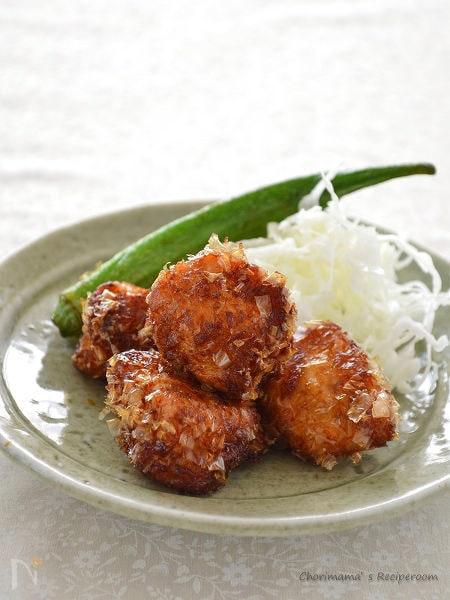鶏むね肉のかつおぶし衣竜田揚げ