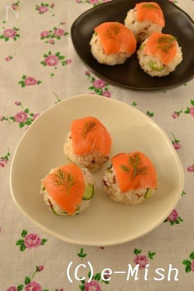 スモークサーモンの手まり寿司