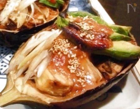 米茄子とアボカドのマヨ味噌焼き