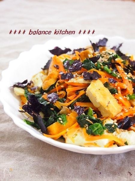 栄養バランス満点・時短!厚揚げと3種野菜の炒めナムル