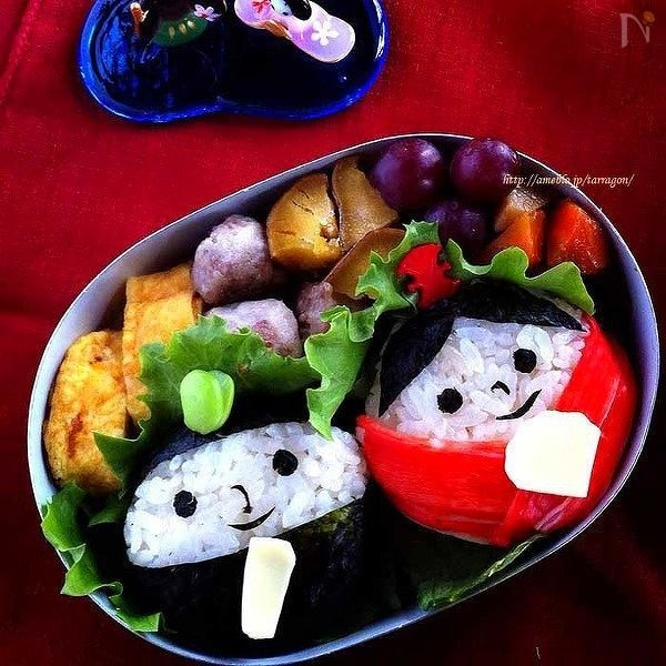 ひな祭りに。簡単、まんまる○おひなさま弁当♪