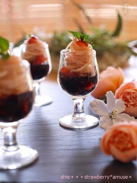 苺のアミューズ♡ストロベリーバルサミコのカッペリーニ