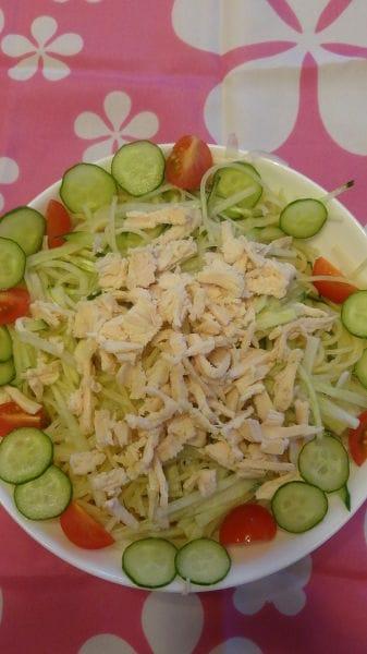 サラダスパゲティで大根サラダ。