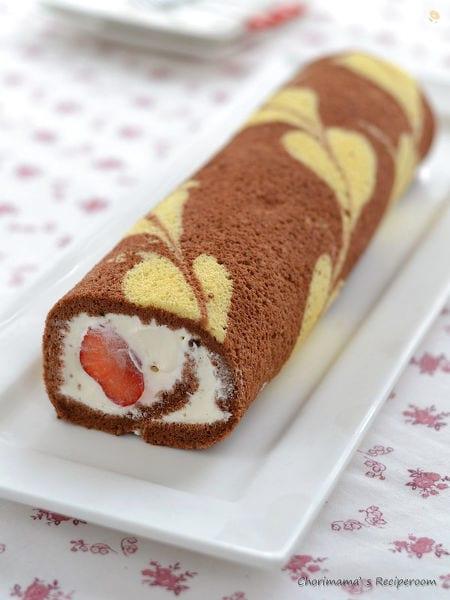 チョコハートロールケーキ