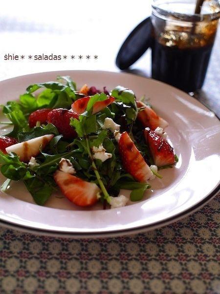 苺とリコッタチーズのサラダ~ストロベリーバルサミコで♡