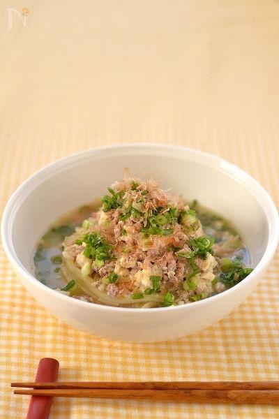 たっぷりねぎの豚豆腐スープスパゲッティ