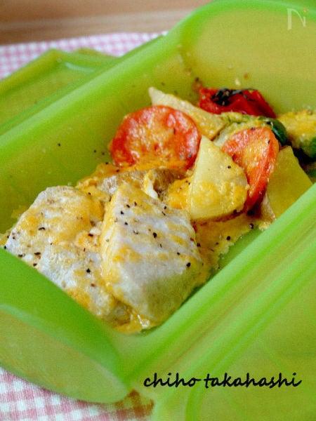 メカジキと温野菜のカルボナーラソース