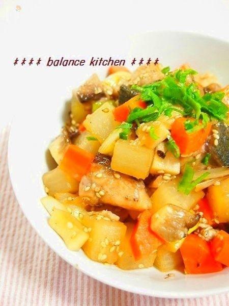 ぶりとたっぷり野菜のゴマ照り焼き