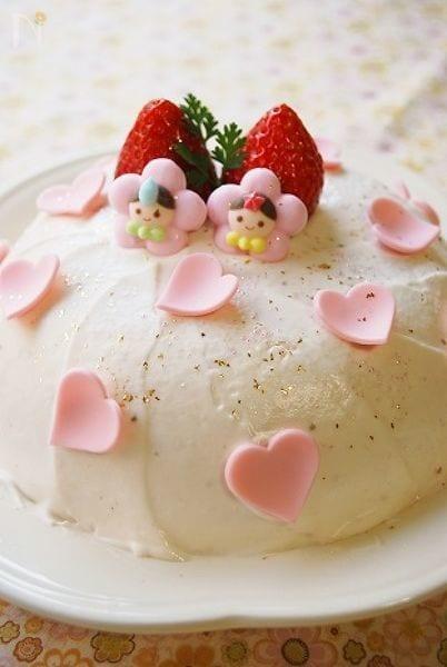 ボウルで作る!簡単お雛様ケーキ