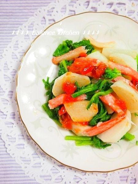 簡単!焼きかぶと菜の花の梅ドレサラダ