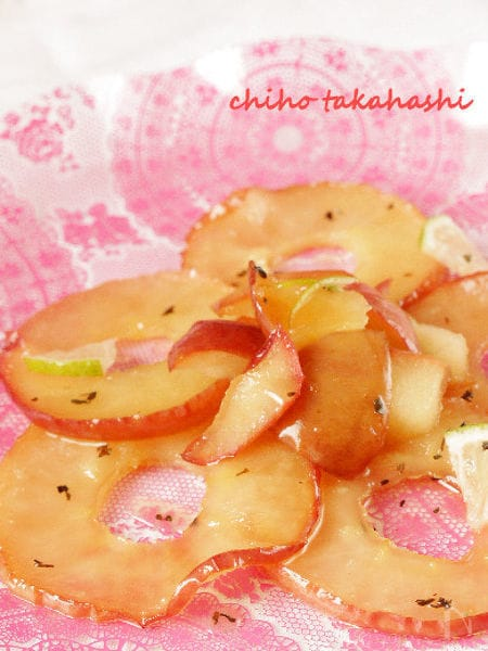 焼きりんご ミントとライムのソース