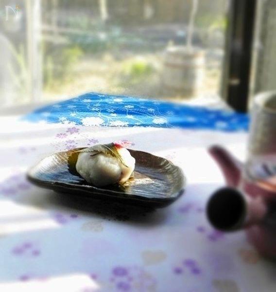 レンジで作る桜もち(上新粉)